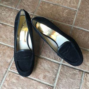 NWOT Michael Kors Suede Heeled Loafers. Sz9